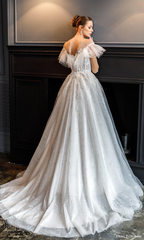 oleg baburow fall 2021 bridal off shoulder flutter sleeves sweetheart neckline fully embellished a line ball gown wedding dress chapel train (11) bv