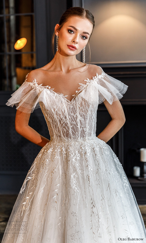 oleg baburow fall 2021 bridal off shoulder flutter sleeves sweetheart neckline fully embellished a line ball gown wedding dress chapel train (11) mv