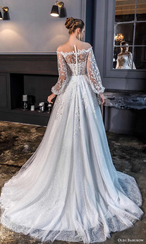 oleg baburow fall 2021 bridal sheer bishop sleeves off shoulder sweetheart neckline fully embellished a line ball gown wedding dress chapel train (22) bv