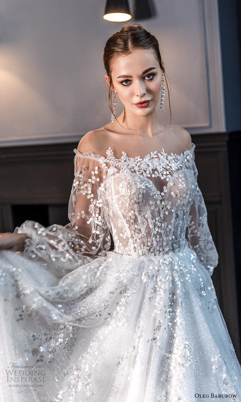 oleg baburow fall 2021 bridal sheer bishop sleeves off shoulder sweetheart neckline fully embellished a line ball gown wedding dress chapel train (22) mv