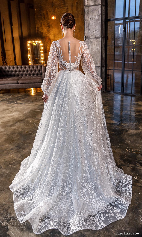 oleg baburow fall 2021 bridal sheer bishop sleeves pluging v neckline fully embellished a line wedding dress chapel train (18) bv