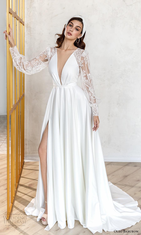 oleg baburow fall 2021 bridal sheer bishop sleeves plunging v neckline clean bodice a line wedding dress slit skirt chapel train (5) mv