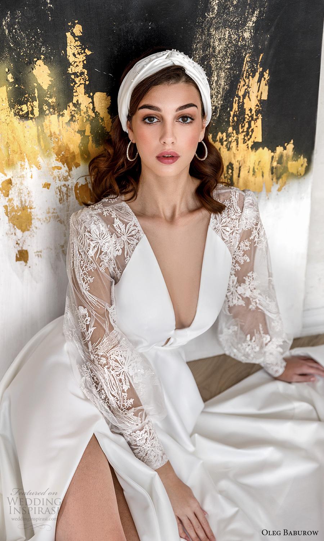 oleg baburow fall 2021 bridal sheer bishop sleeves plunging v neckline clean bodice a line wedding dress slit skirt chapel train (5) zv