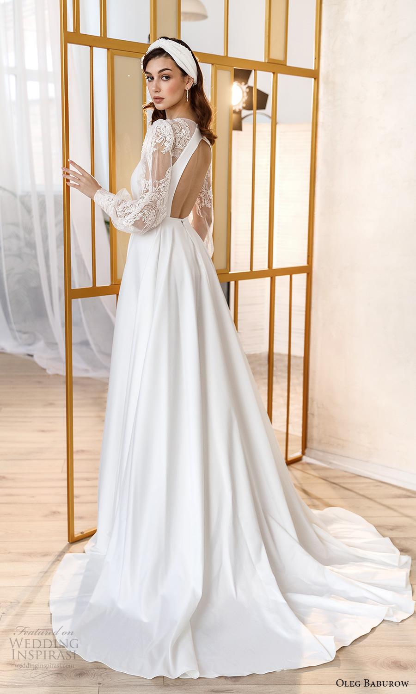 oleg baburow fall 2021 bridal sheer bishop sleeves plunging v neckline clean bodice a line wedding dress slit skirt chapel train cutout back (5) bv