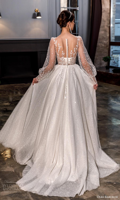 oleg baburow fall 2021 bridal sheer bishop sleeves plunging v neckline fully embellishd princess a line ball gown wedding dress chapel train (19) bv