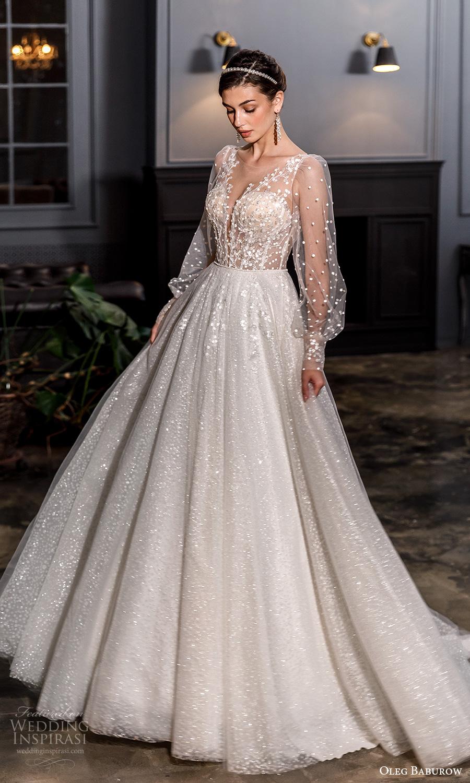 oleg baburow fall 2021 bridal sheer bishop sleeves plunging v neckline fully embellishd princess a line ball gown wedding dress chapel train (19) mv