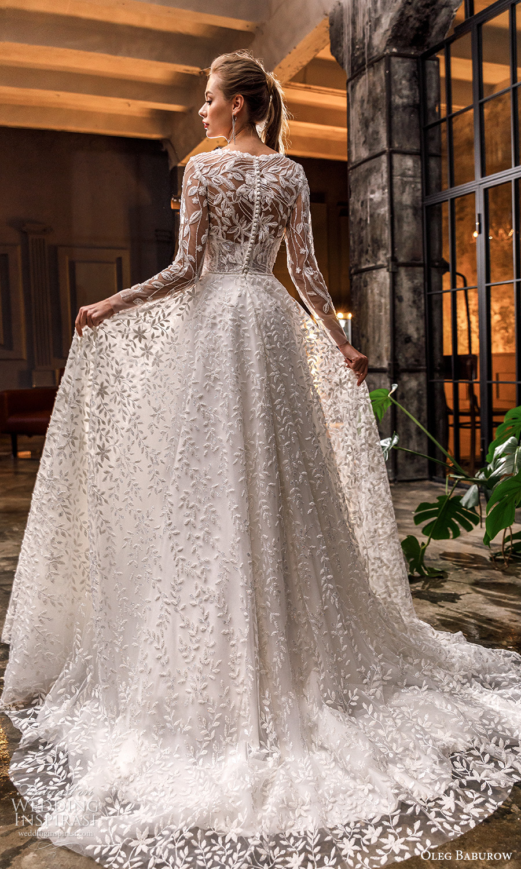 oleg baburow fall 2021 bridal sheer long sleeve jewel crew neckline fully embellished a line ball gown wedding dress chapel train (20) bv
