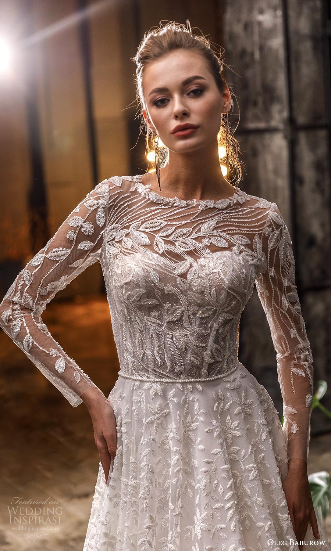 oleg baburow fall 2021 bridal sheer long sleeve jewel crew neckline fully embellished a line ball gown wedding dress chapel train (20) mv