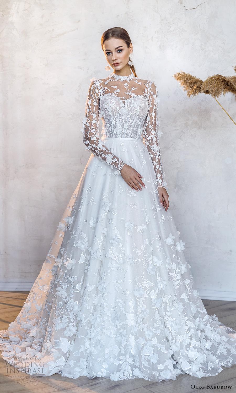 oleg baburow fall 2021 bridal sheer long sleeves illusion high neck sweetheart neckline fully embellished a line ball gown wedding dress chapel train (8) mv