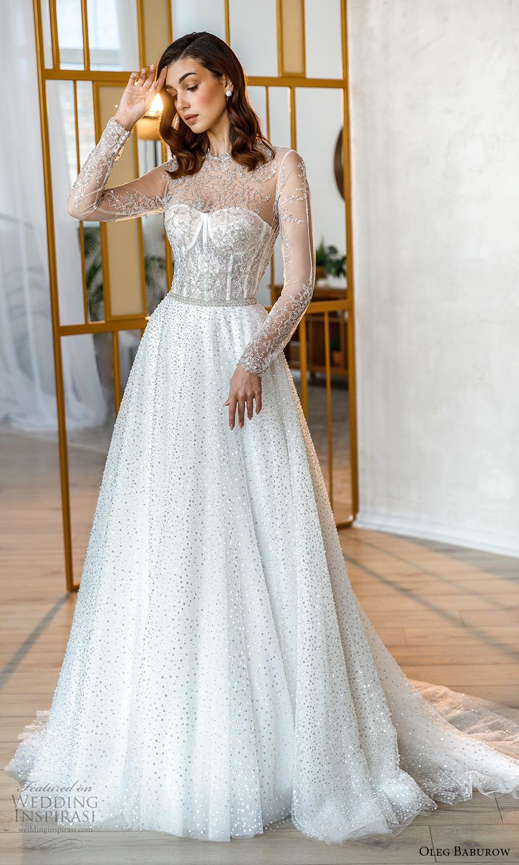 oleg baburow fall 2021 bridal sheer long sleeves illusion jewel neck sweetheart neckline fully embellished glitzy a line ball gown wedding dress chapel train (9) mv