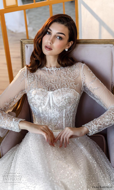 oleg baburow fall 2021 bridal sheer long sleeves illusion jewel neck sweetheart neckline fully embellished glitzy a line ball gown wedding dress chapel train (9) zv