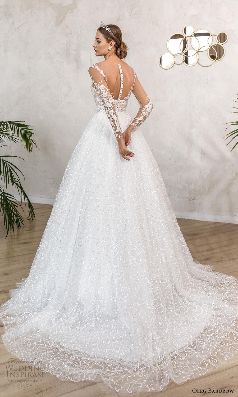 oleg baburow fall 2021 bridal sheer long sleeves illusion sweetheart neckline fully embellished lace a line ball gown wedding dress chapel train (7) bv