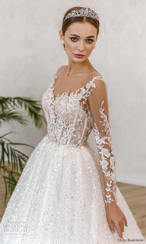 oleg baburow fall 2021 bridal sheer long sleeves illusion sweetheart neckline fully embellished lace a line ball gown wedding dress chapel train (7) zv