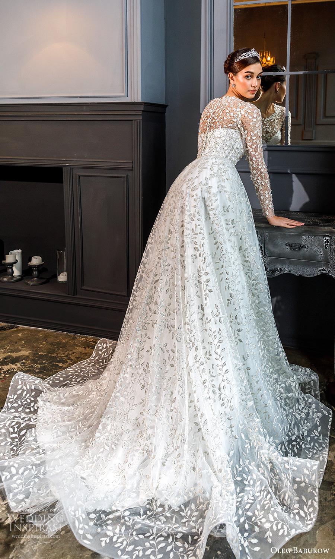 oleg baburow fall 2021 bridal sheer long sleeves jewel neckline fully embellished a line ball gown wedding dress chapel train (15) bv