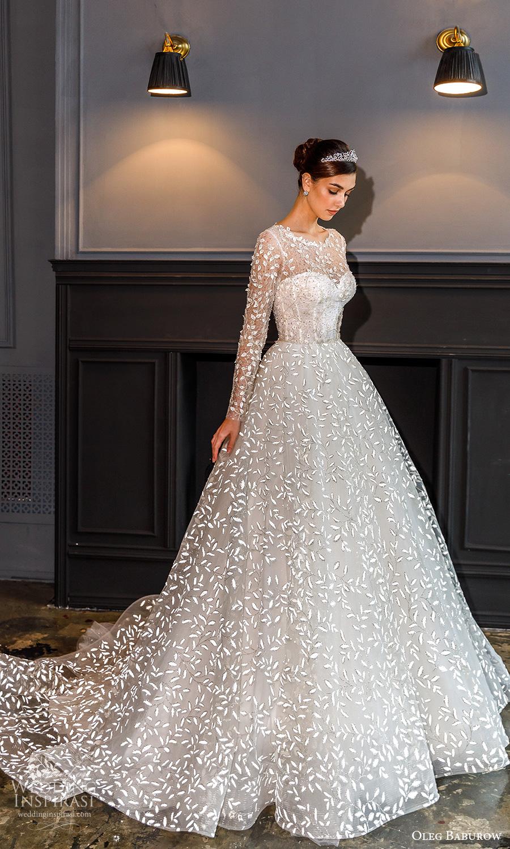 oleg baburow fall 2021 bridal sheer long sleeves jewel neckline fully embellished a line ball gown wedding dress chapel train (15) mv
