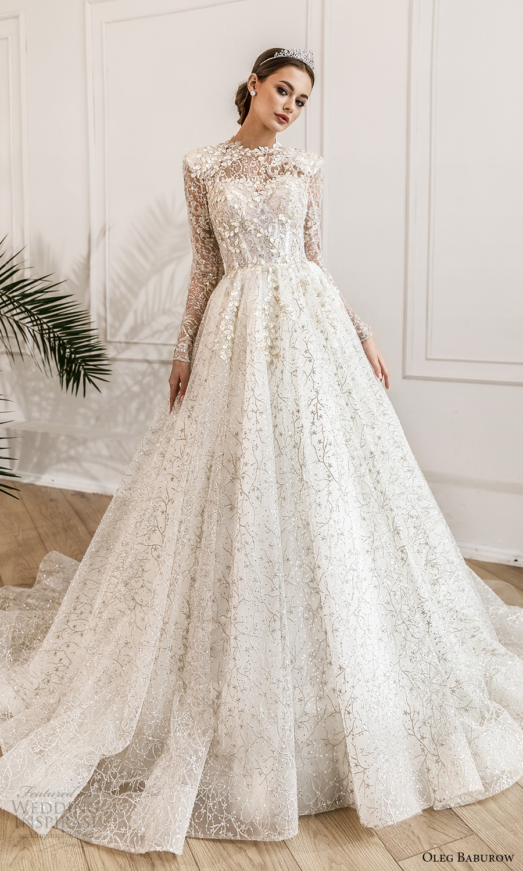oleg baburow fall 2021 bridal sheer long sleeves jewel neckline fully embellished a line ball gown wedding dress chapel train (4) mv