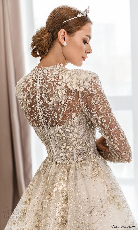 oleg baburow fall 2021 bridal sheer long sleeves jewel neckline fully embellished a line ball gown wedding dress chapel train (4) zbv