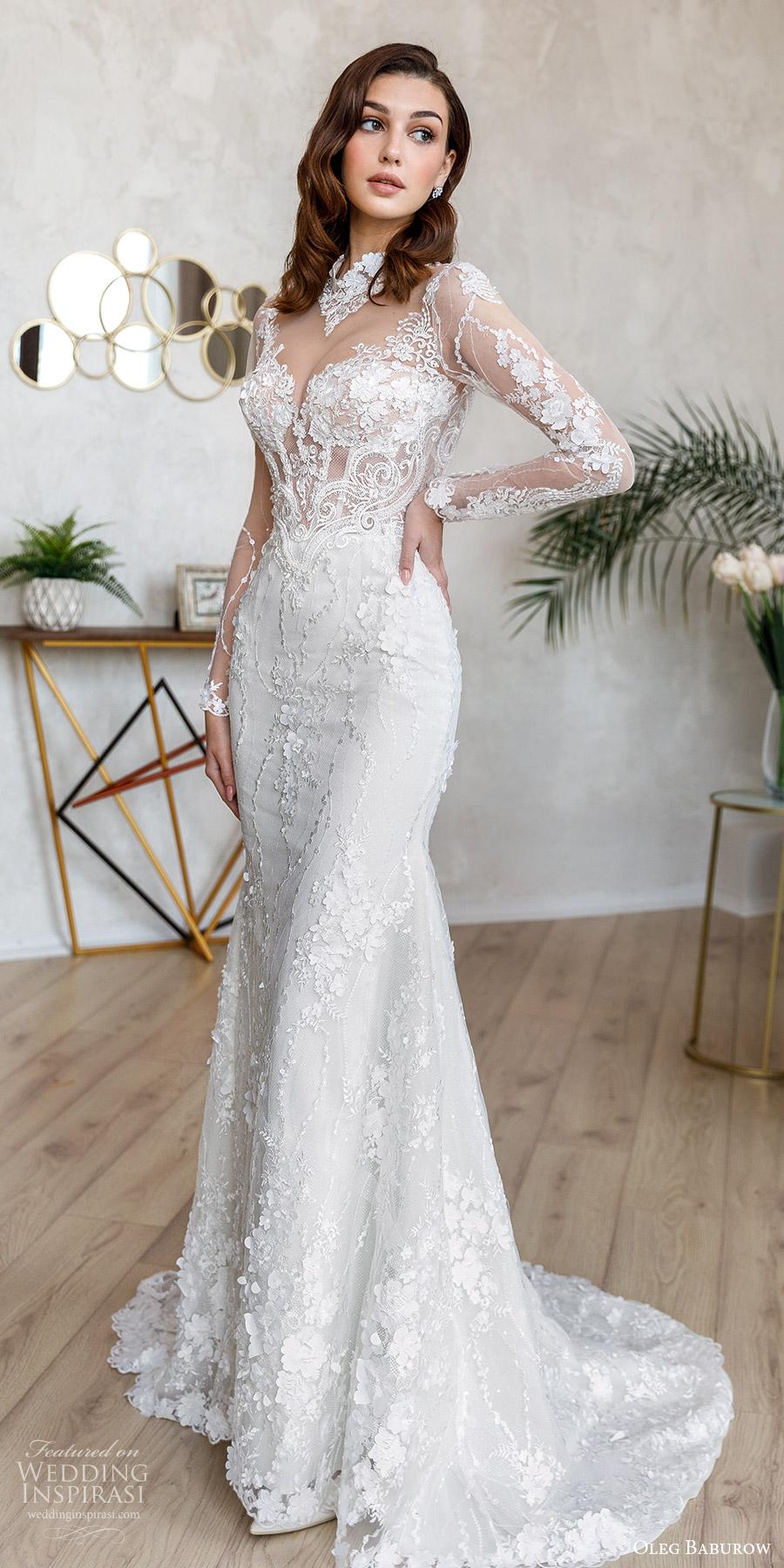 oleg baburow fall 2021 bridal sheer long sleeves jewel neckline sheer cutout sweetheart bodice lace sheath wedding dress chapel train (1) mv