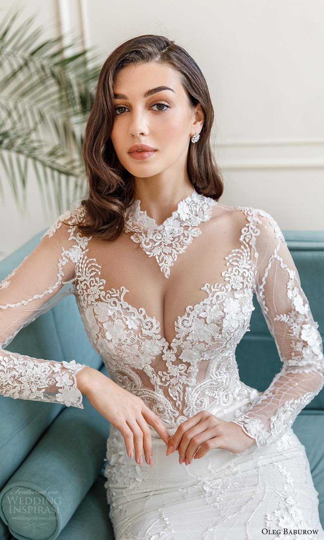 oleg baburow fall 2021 bridal sheer long sleeves jewel neckline sheer cutout sweetheart bodice lace sheath wedding dress chapel train (1) zv