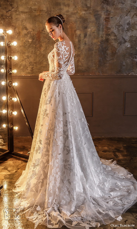 oleg baburow fall 2021 bridal sheer long sleeves sweetheart neckline fully embellished a line ball gown wedding dress illusion back chapel train (16) bv