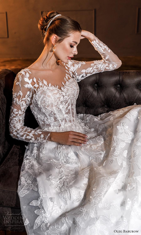 oleg baburow fall 2021 bridal sheer long sleeves sweetheart neckline fully embellished a line ball gown wedding dress illusion back chapel train (16) zv