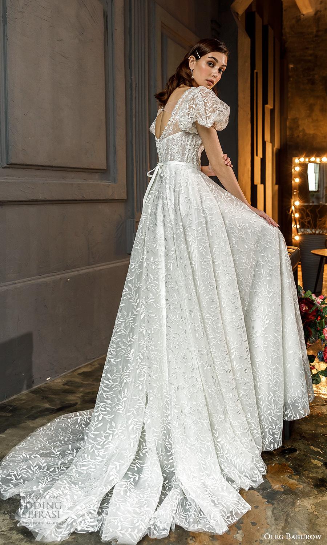 oleg baburow fall 2021 bridal short puff sleeves square neckline fully embellished a line ball gown wedding dress chapel train (13) bv