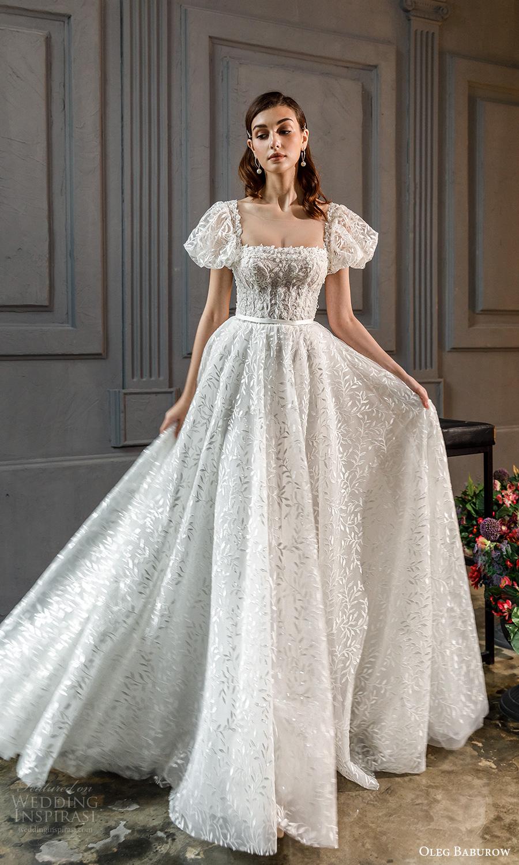 oleg baburow fall 2021 bridal short puff sleeves square neckline fully embellished a line ball gown wedding dress chapel train (13) mv