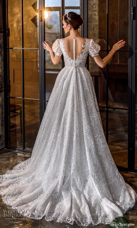 oleg baburow fall 2021 bridal short puff sleeves sweetheart neckline fully embellished a line ball gown fairytale princess wedding dress chapel train (17) bv