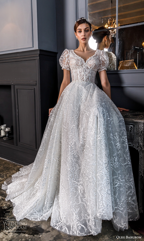oleg baburow fall 2021 bridal short puff sleeves sweetheart neckline fully embellished a line ball gown fairytale princess wedding dress chapel train (17) mv