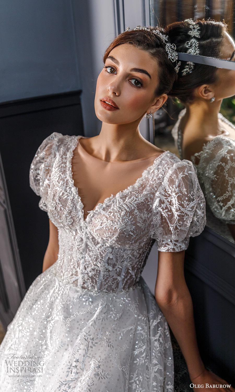 oleg baburow fall 2021 bridal short puff sleeves sweetheart neckline fully embellished a line ball gown fairytale princess wedding dress chapel train (17) zv