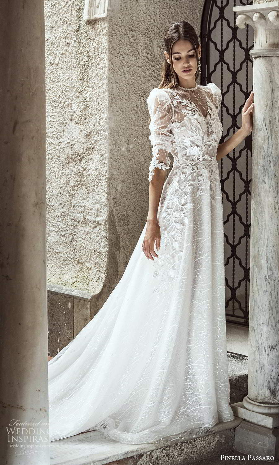 pinella passaro 2021 bridal 3 quarter puff sleeves sheer jewel neck sweetheart neckline fully embellished lace a line ball gown wedding dress chapel train (5) mv