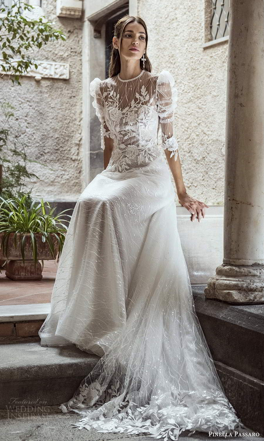 pinella passaro 2021 bridal 3 quarter puff sleeves sheer jewel neck sweetheart neckline fully embellished lace a line ball gown wedding dress chapel train (5) zv
