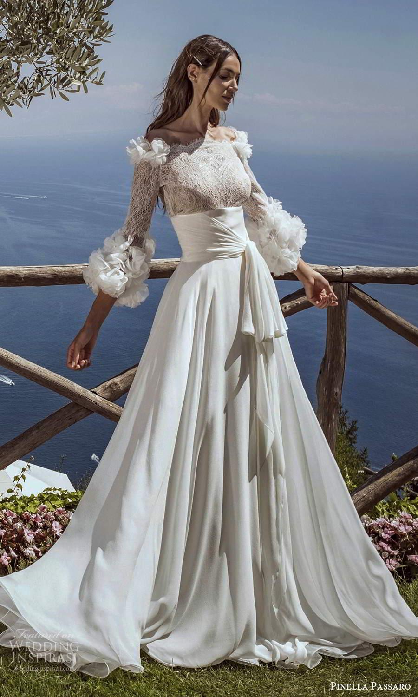 pinella passaro 2021 bridal 3 quarter sleeves off shoulder neckline embellished lace bodice clean skirt a line ball gown wedding dress chapel train (17) mv
