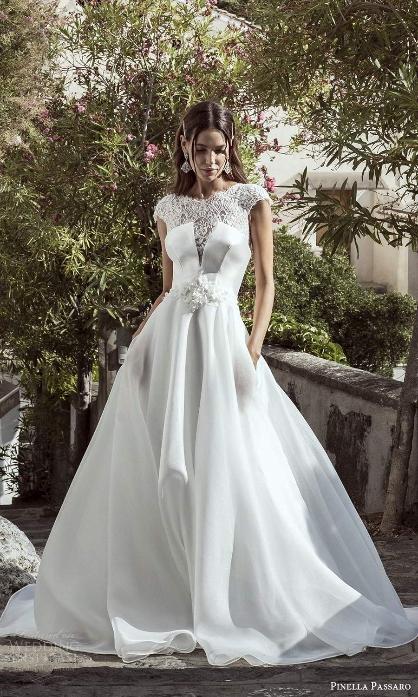 pinella passaro 2021 bridal cap sleeves sheer jewel neckline split bodice clean skirt a line ball gown wedding dress (22) mv