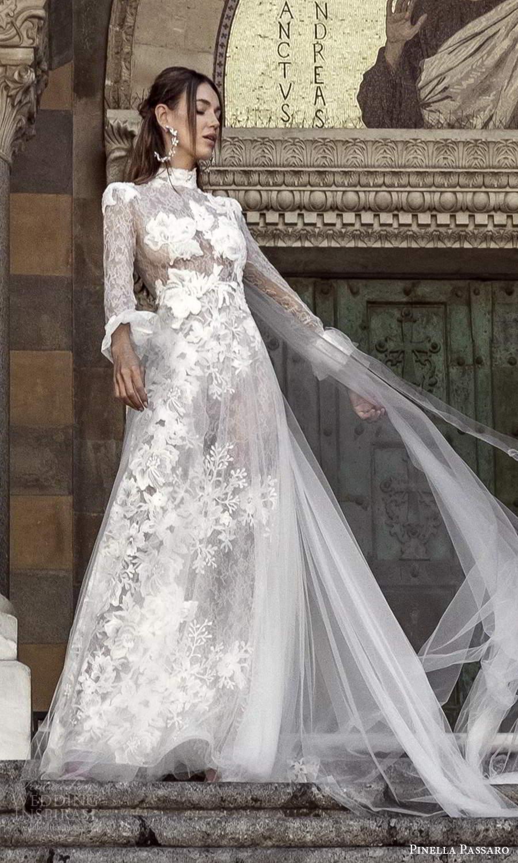 pinella passaro 2021 bridal flare long sleeves high neckline fully embellished lace a line wedding dress chapel train (8) mv