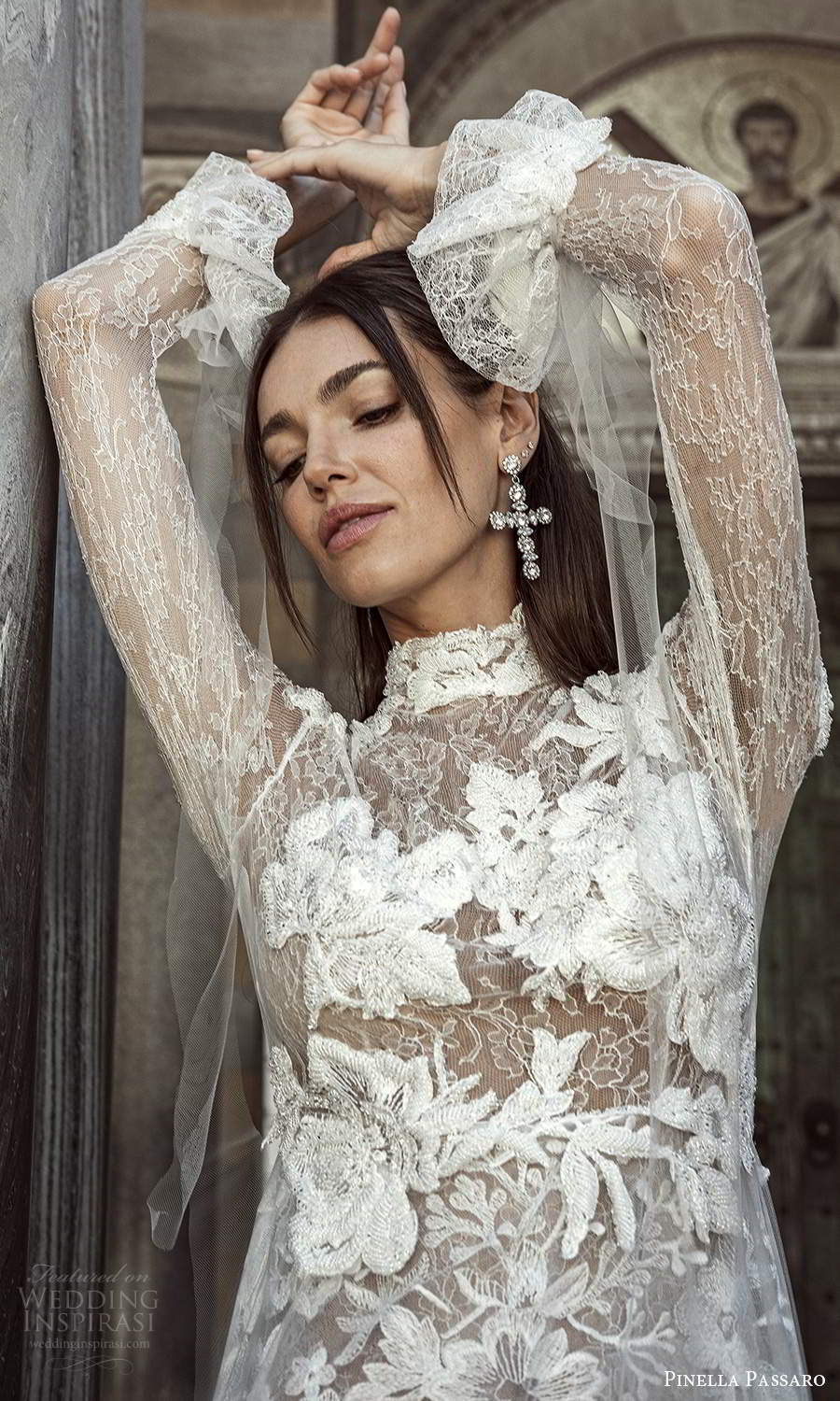 pinella passaro 2021 bridal flare long sleeves high neckline fully embellished lace a line wedding dress chapel train (8) zv