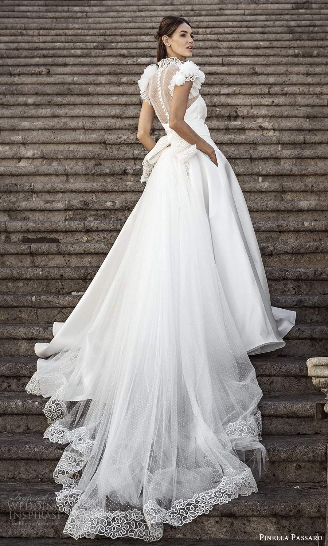 pinella passaro 2021 bridal flutter cap sleeves sheer high neck sweetheart neckline clean bodice a line ball gown wedding dress chapel train (3) bv