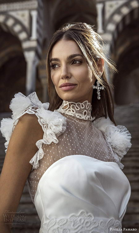 pinella passaro 2021 bridal flutter cap sleeves sheer high neck sweetheart neckline clean bodice a line ball gown wedding dress chapel train (3) zv