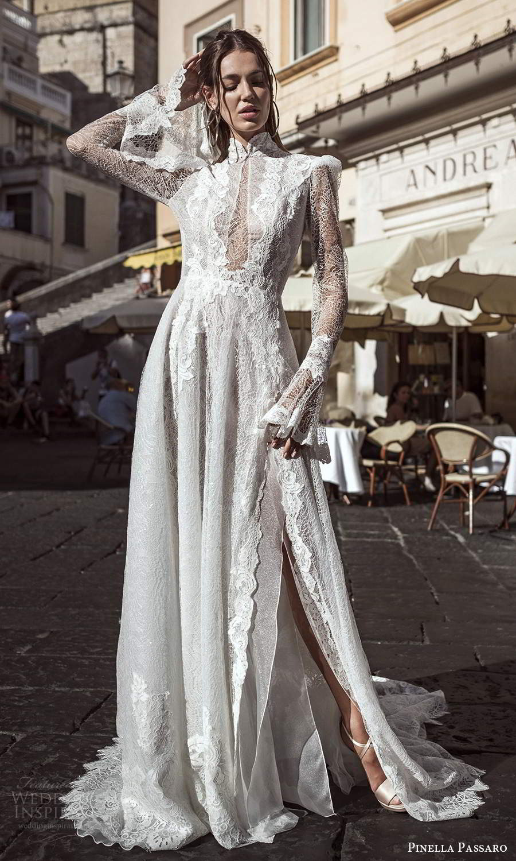 pinella passaro 2021 bridal long flare sleeves high neckline fully embellished lace a line wedding dress slit skirt chapel train (6) mv