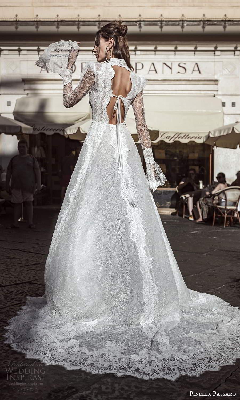 pinella passaro 2021 bridal long flare sleeves high neckline fully embellished lace a line wedding dress slit skirt chapel train keyhole back (6) bv