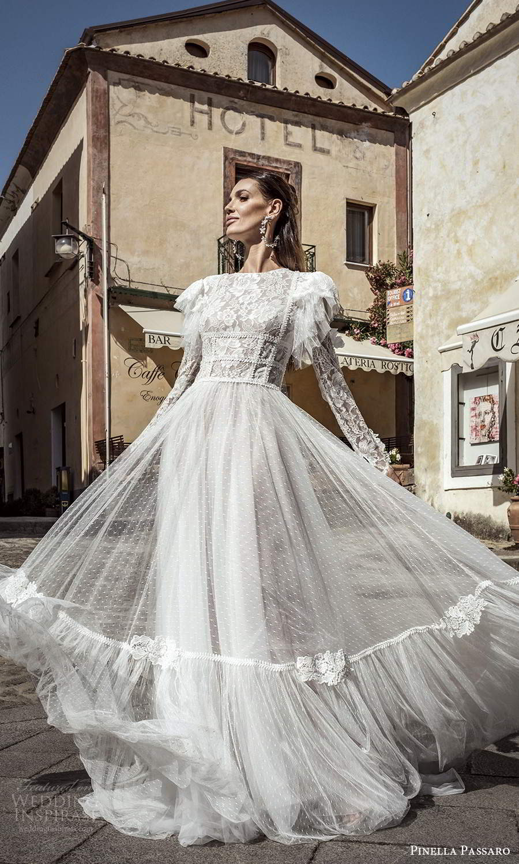 pinella passaro 2021 bridal long flutter sleeves jewel neckline fully embellished lace a line boho wedding dress chapel train (21) mv
