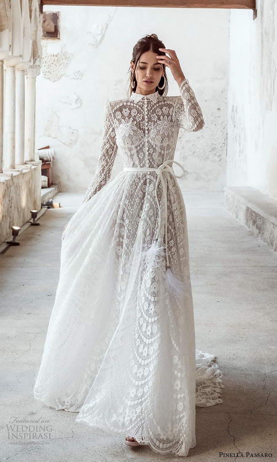 pinella passaro 2021 bridal long sleeves collar neckline fully embellished lace a line wedding dress chapel train (4) mv