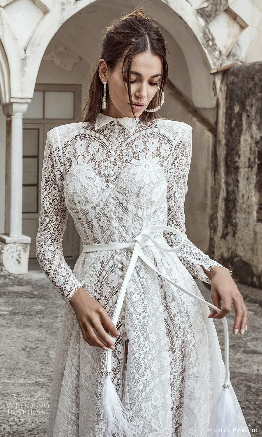pinella passaro 2021 bridal long sleeves collar neckline fully embellished lace a line wedding dress chapel train (4) zv