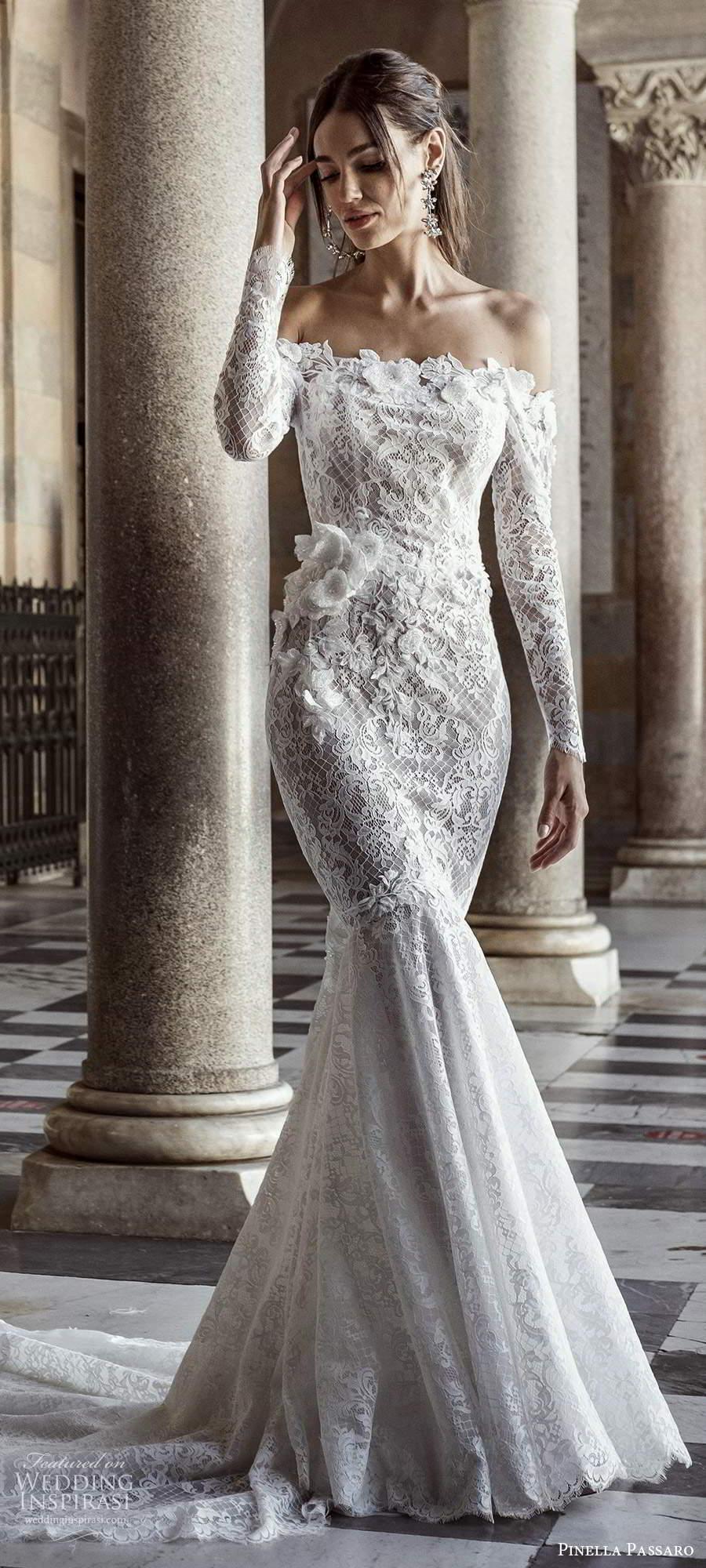 pinella passaro 2021 bridal long sleeves off shoulder straight across neckline fully embellished fit flare mermaid wedding dress chapel train (2) lv
