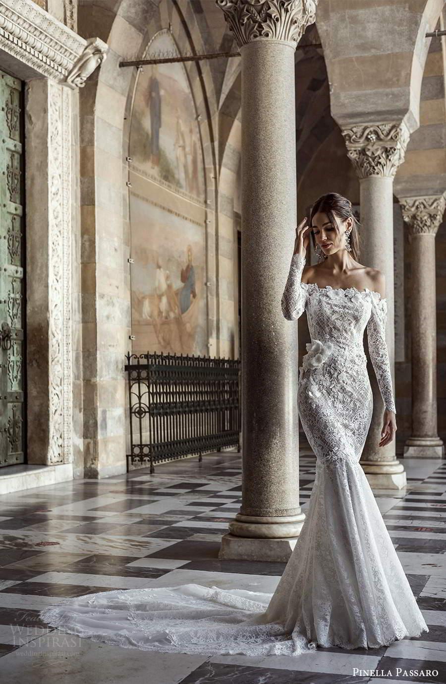 pinella passaro 2021 bridal long sleeves off shoulder straight across neckline fully embellished fit flare mermaid wedding dress chapel train (2) mv