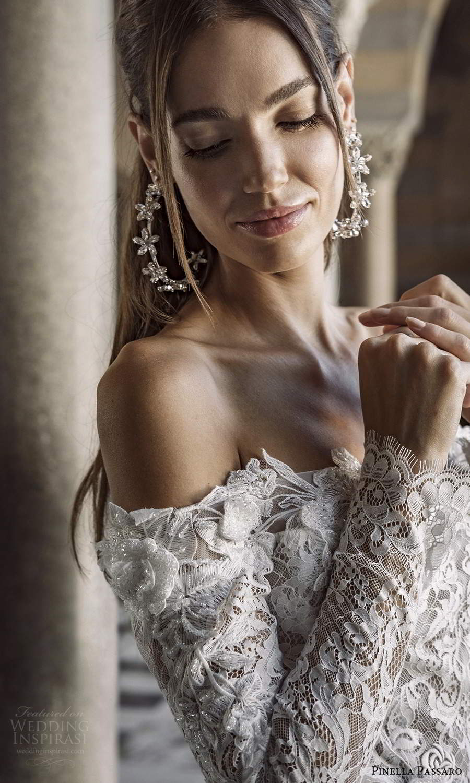 pinella passaro 2021 bridal long sleeves off shoulder straight across neckline fully embellished fit flare mermaid wedding dress chapel train (2) zv