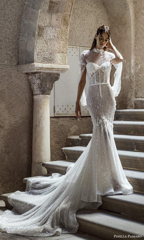 pinella passaro 2021 bridal long split sleeves sheer high neck sweetheart neckline fully embellished fit flare mermaid wedding dress chapel train (1) mv
