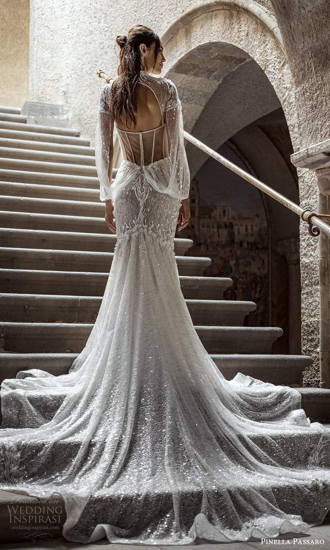 pinella passaro 2021 bridal long split sleeves sheer high neck sweetheart neckline fully embellished fit flare mermaid wedding dress chapel train cutout sheer back (1) bv