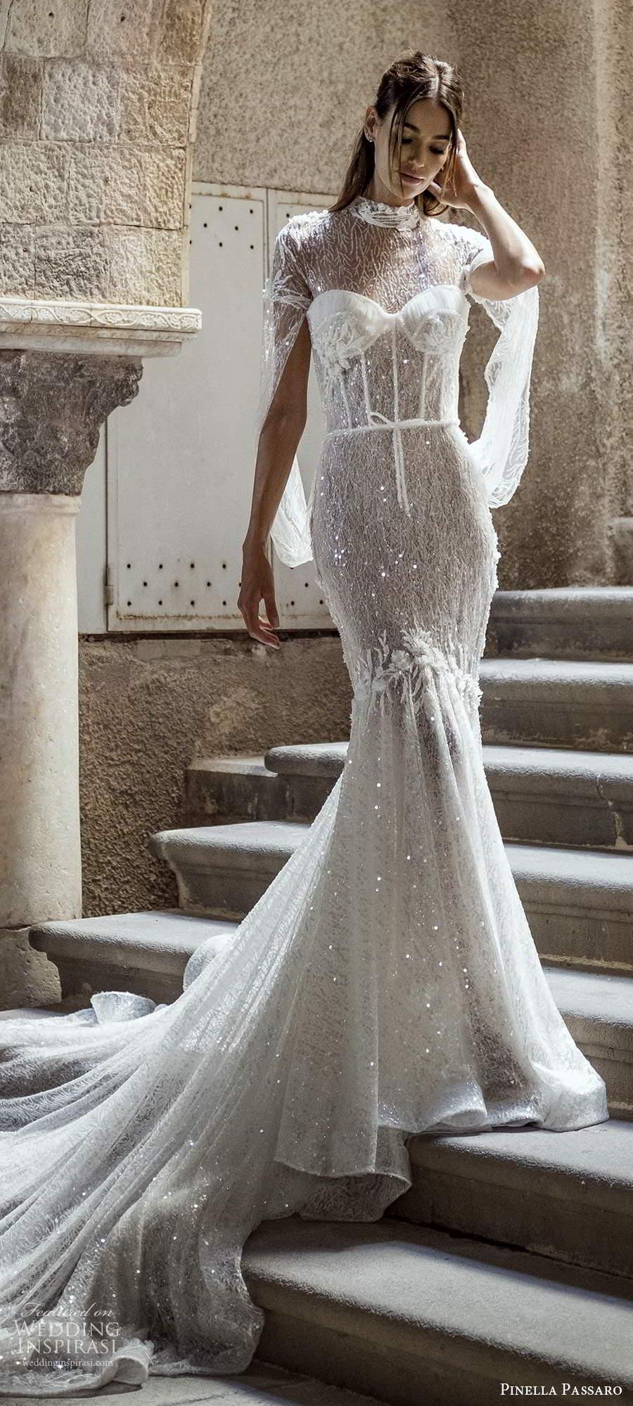 pinella passaro 2021 bridal long split sleeves sheer high neck sweetheart neckline fully embellished fit flare mermaid wedding dress chapel train cutout sheer back (1) lv