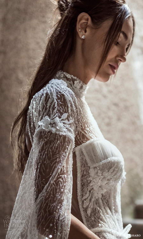 pinella passaro 2021 bridal long split sleeves sheer high neck sweetheart neckline fully embellished fit flare mermaid wedding dress chapel train cutout sheer back (1) zsv